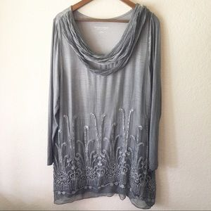 Soft Surroundings Silk Beaux Arts Tunic XL Gray